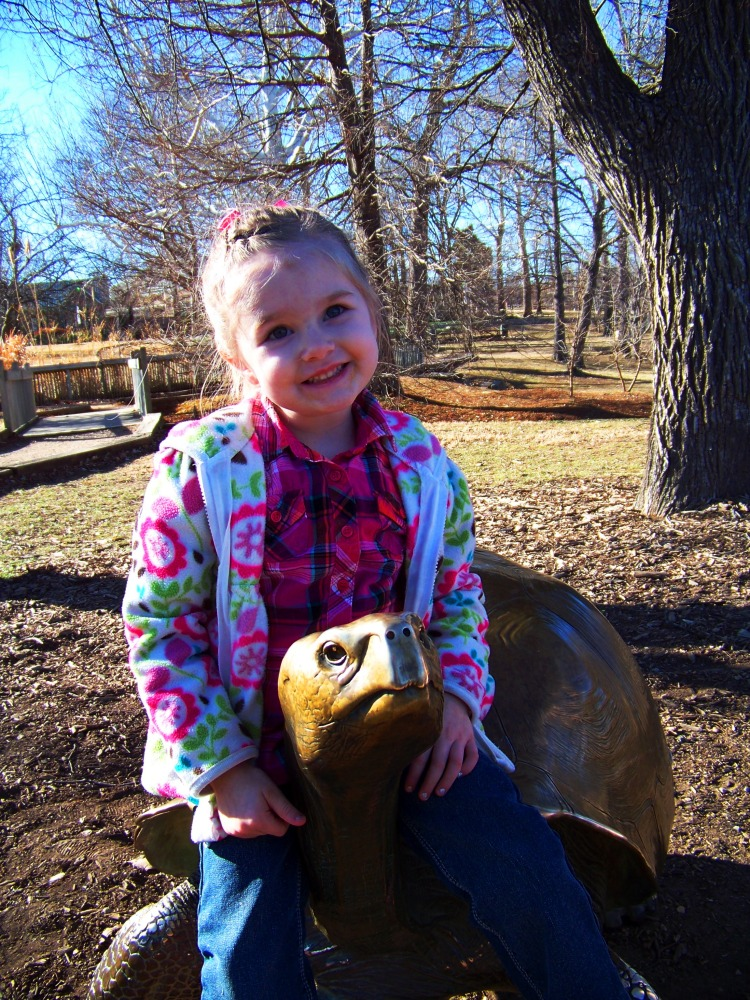 Bella riding the turtle