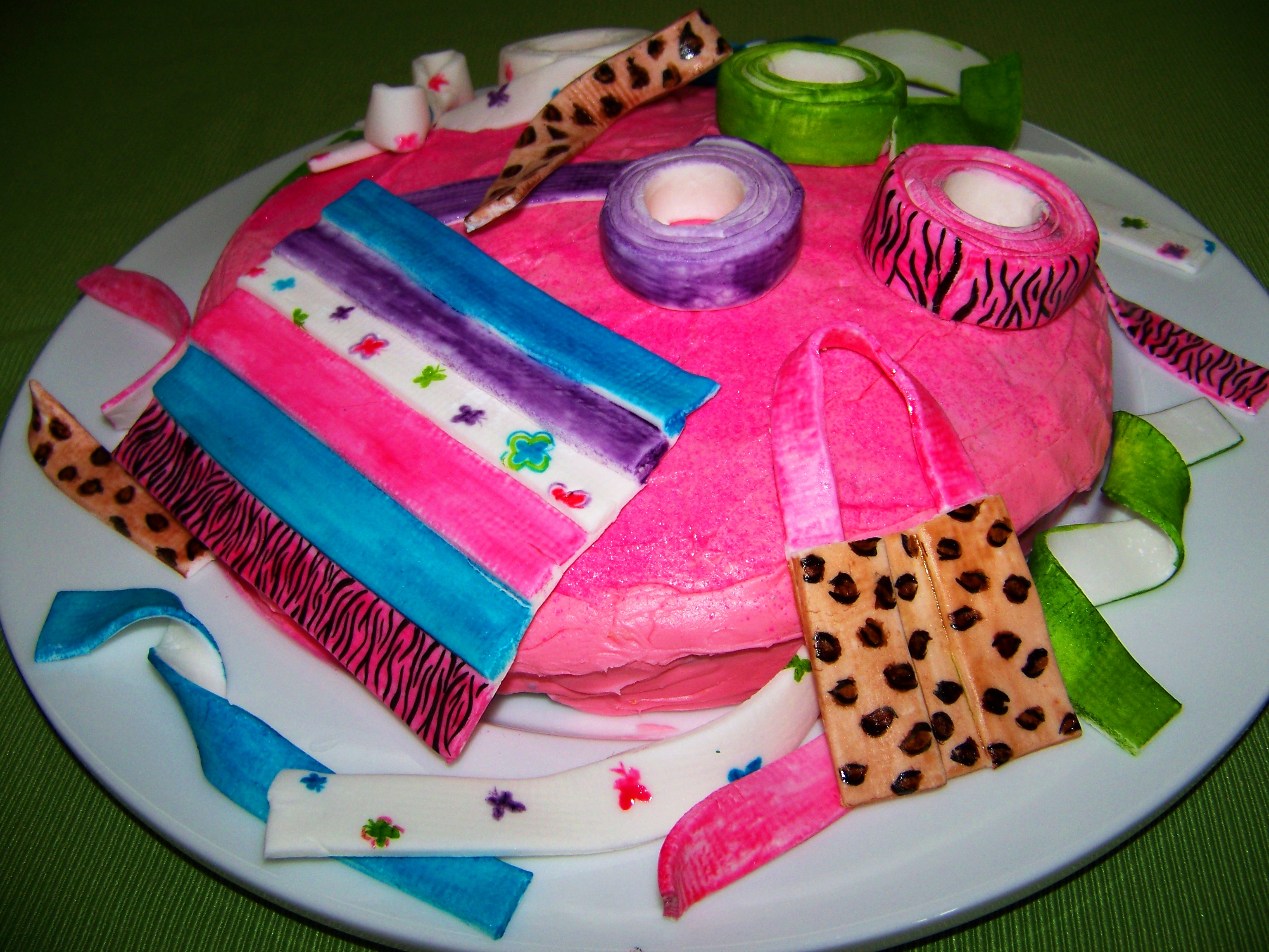 A cake for a girl who loves to make things out of duct tape My