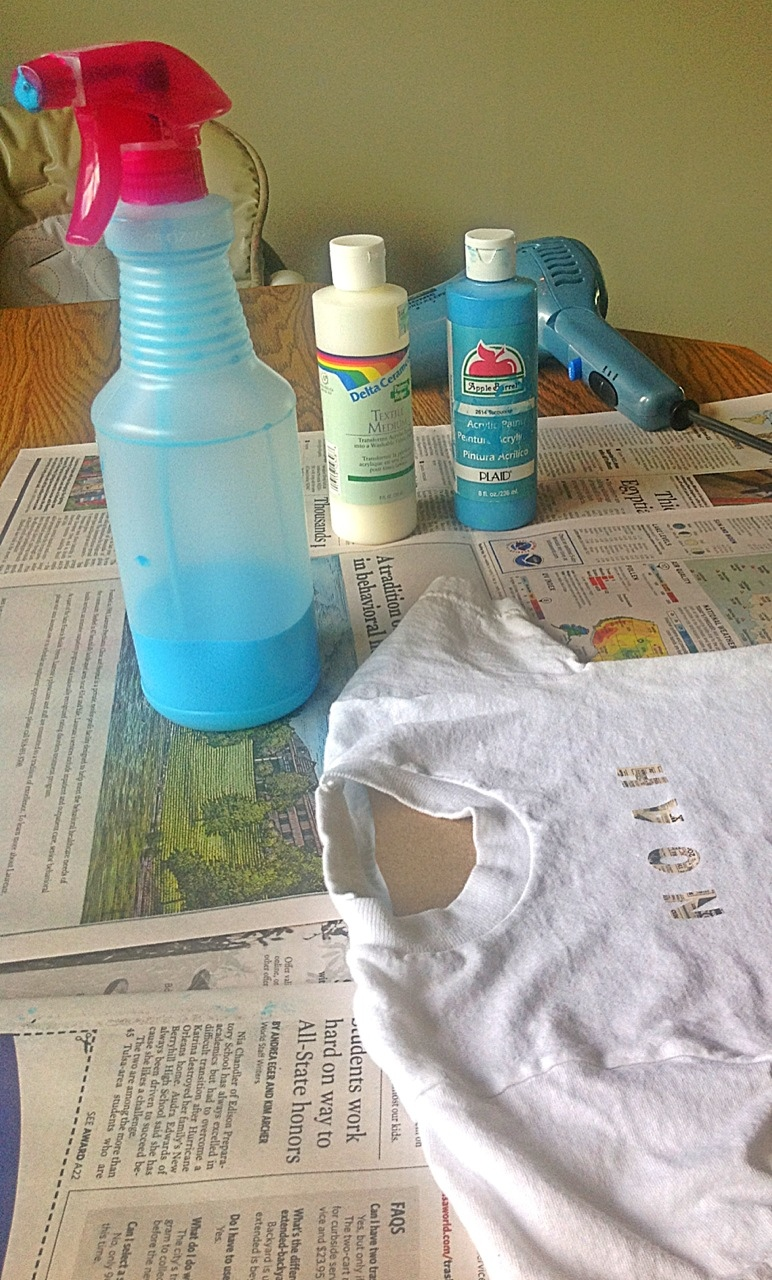 Make your own fabric spray paint my crazy blessed life for Bottle painting materials