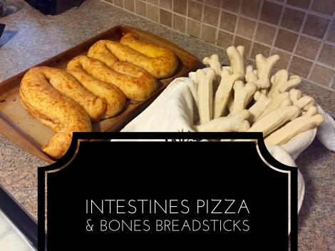 Intestines Pizza and BonesBreadsticks